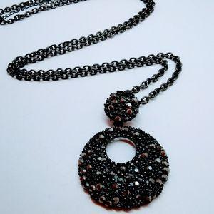 Hematite Glitz Lariat Style Chain Necklace
